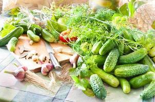 bereiding van ingelegde komkommers foto