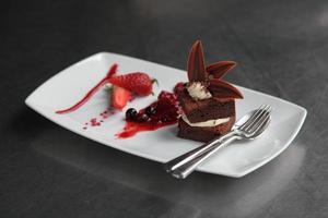 geplateerde chocolade brownie woestijn foto