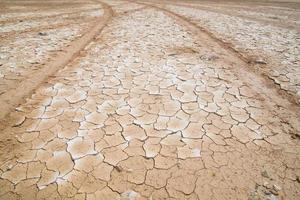 gebarsten droog land zonder water foto