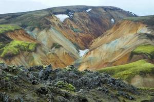 veelkleurige bergen bij landmannalaugar,