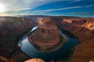 zonsondergang bij de hoefijzerband, grand canyon foto