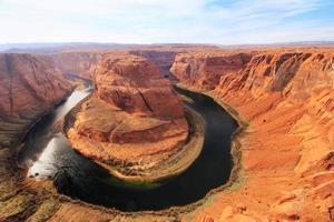 hoefijzerbocht gezien vanaf over het hoofd, Arizona, VS. foto