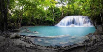 panorama van tropisch bos, waterval in thailand