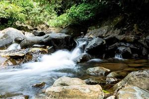waterval met diepgroene bosachtergrond.
