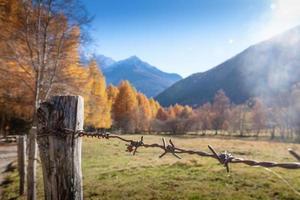 herfstpanorama in de Italiaanse Alpen achter een hek
