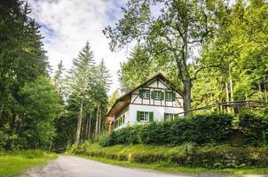 afgelegen huisje huis gerenoveerd bos onverharde weg bomen lucht foto