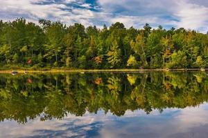 vroege herfst reflecties op grog vijver, nabij orland, maine.