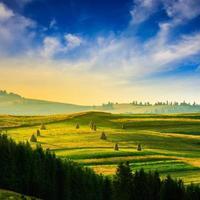 veld in de buurt van dorp in de bergen foto