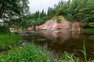 zandstenen rotsen in het Gaujas National Park, Letland