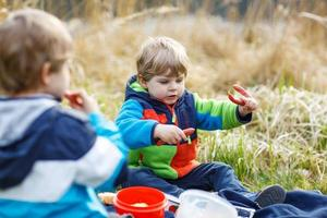 twee kleine broer of zus jongens met picknick in de buurt van bosmeer, natuur