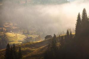 majestueuze zonsondergang in het landschap van bergen. carpathian, oekraïne foto