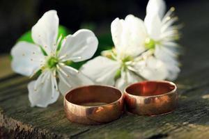twee trouwringen en lentebloesems.