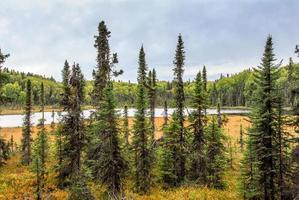 verborgen alaskan-meer in de herfst foto