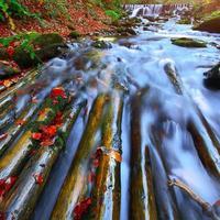 snelle bergrivier in de herfst foto