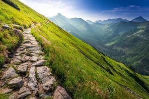 voetpad in de bergen bij zonsopgang