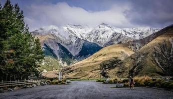 Nieuw-Zeeland panorama met bergen foto