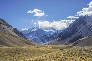 aconcagua, in het Andesgebergte in Mendoza, Argentinië. foto
