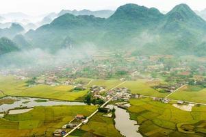 rijstveld in vallei, bac son, lang son, vietnam