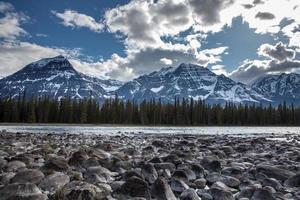 wildernis van rivier en rots