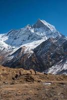 trekking in de Annapurna-regio, Nepal, Himalaya foto