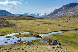 rivier en voetbrug. tien shan, kirgizië