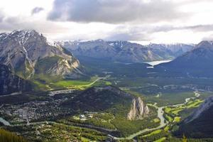 volledig panoramisch uitzicht op Banff vanaf de zwavelberg