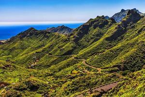 groene bergenvallei met weg foto