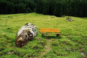bankje in de bergen van de alpen foto