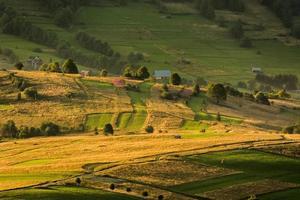 glooiende velden in de bergen foto