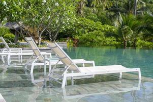zicht op zwembad met groene tropische tuin