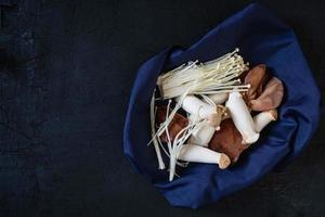 een verscheidenheid aan paddenstoelen op stof foto