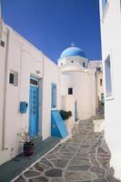 cycladen huizen blauw wit foto