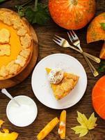 pompoentaart op thanksgiving day feest.