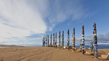 Buryat totems op Olkhon Island, het Baikalmeer