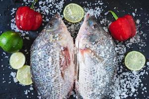 verse tilapia-vissen met zout en kruiden