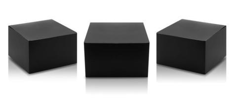 set van zwarte doos productverpakkingen foto