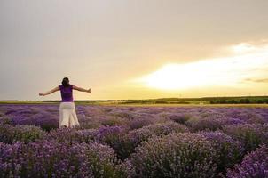 meisje in een lavendelveld. foto