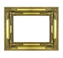 gouden afbeeldingsframe. geïsoleerd op witte achtergrond foto