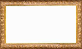 gouden afbeeldingsframe geïsoleerd op een witte achtergrond foto