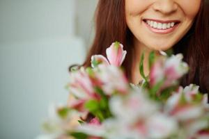 brede glimlach foto