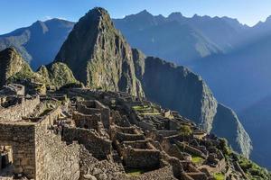 binnen machu picchu, de heilige stad van inca's, peru