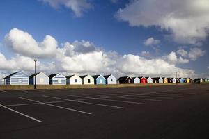 kleurrijke strandhutten, Southwold, Suffolk, Engeland foto