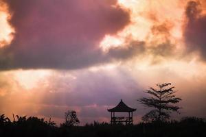 boom en religieus tuinhuisje tegen de hemel foto
