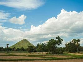 rijstveld met berg en lucht foto