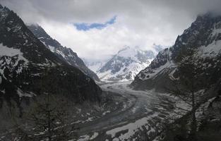 mer de glace gletsjer in frankrijk met humeurige hemel