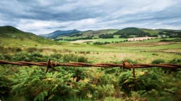 schilderachtig landschap met prikkeldraad foto