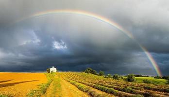 kapel met lavendelveld en regenboog foto