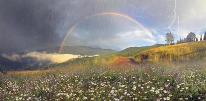 panorama van bergweiden in transcarpathia foto