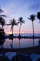 zonsopgang met palmbomen foto