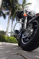 motorfiets close-up met palmbomen foto